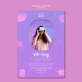 Modèle d'affiche de réalité virtuelle jouer ensemble