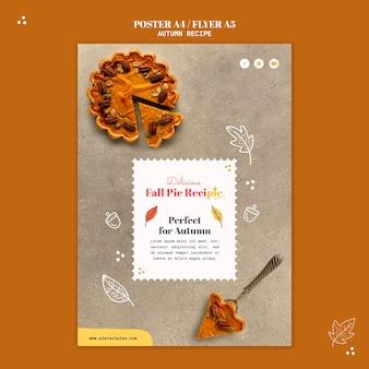 Modèle d'affiche de recette de tarte d'automne