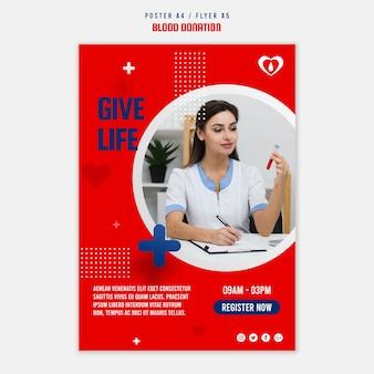 Modèle d'affiche de registre de don de sang