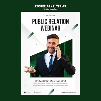 Modèle d'affiche de relations publiques