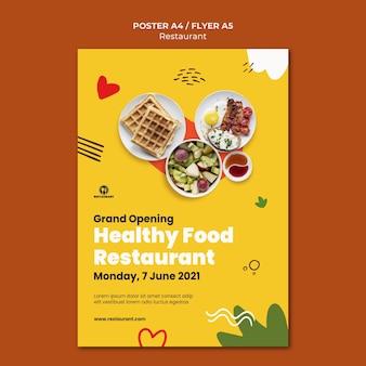 Modèle d'affiche de restaurant d'aliments sains