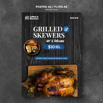 Modèle d'affiche de restaurant de brochettes grillées