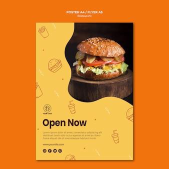 Modèle d'affiche de restaurant burger avec photo