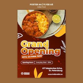 Modèle d'affiche de restaurant de cuisine indienne