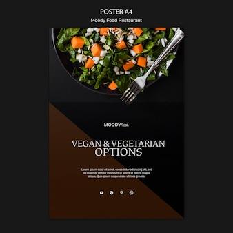 Modèle d'affiche de restaurant de cuisine moody avec salade