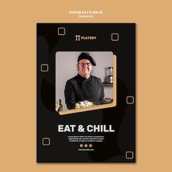 Modèle D'affiche De Restaurant Manger Et Se Détendre Psd gratuit