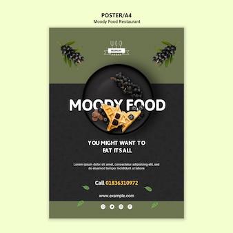 Modèle d'affiche de restaurant de nourriture moody
