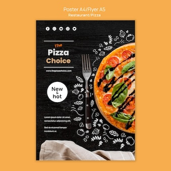 Modèle d'affiche de restaurant de pizza