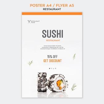 Modèle d'affiche restaurant de sushi