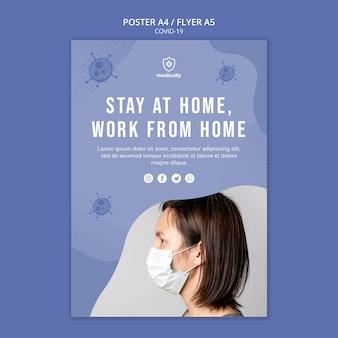 Modèle d'affiche rester à la maison sur les coronavirus