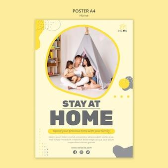 Modèle d'affiche de rester à la maison