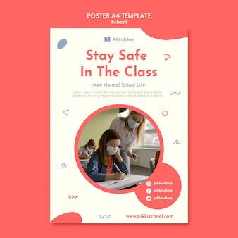 Modèle d'affiche de retour à l'école avec photo