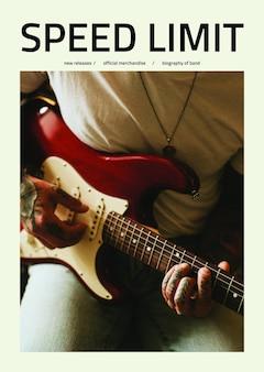 Modèle d'affiche rétro psd avec un homme jouant de la guitare