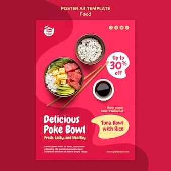 Modèle d'affiche de savoureux bol poke