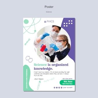 Modèle d'affiche scientifique avec photo