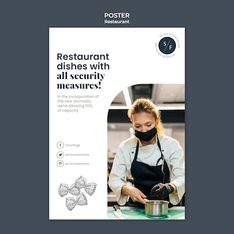 Modèle d'affiche de sécurité de restaurant