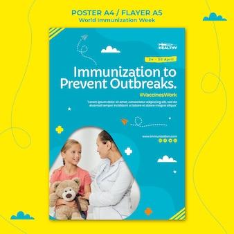 Modèle d'affiche de la semaine mondiale de la vaccination