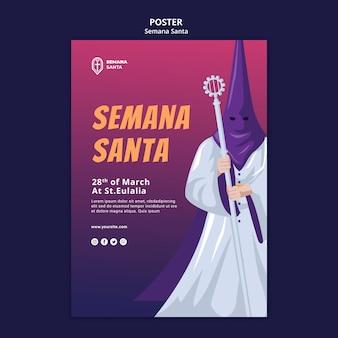 Modèle d'affiche semana santa illustré