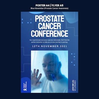 Modèle d'affiche de sensibilisation au cancer de la prostate dans les tons bleus