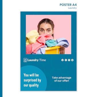 Modèle d'affiche de service de blanchisserie