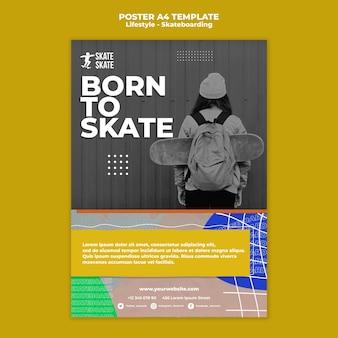 Modèle d'affiche de skateboard lifestyle a4