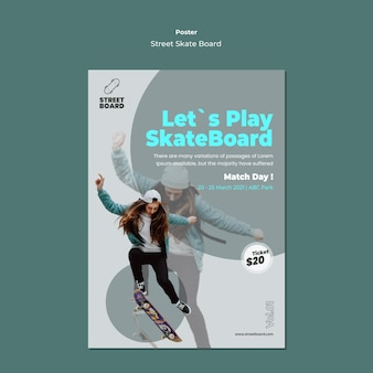 Modèle d'affiche de skateboard de rue