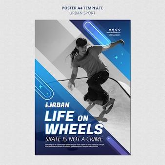 Modèle d'affiche de skateur urbain