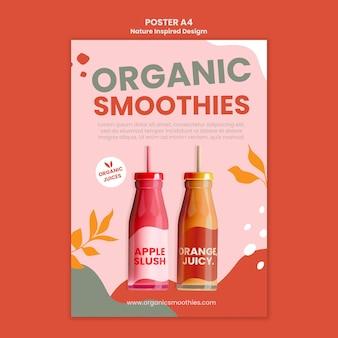 Modèle d'affiche sociale de délicieux smoothies bio