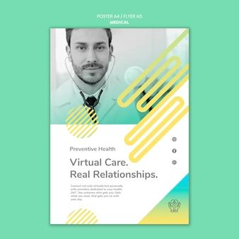 Modèle d'affiche de soins virtuels
