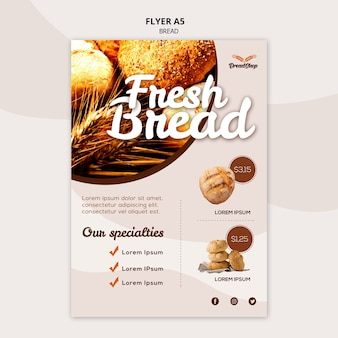 Modèle d'affiche de spécialités de pain frais