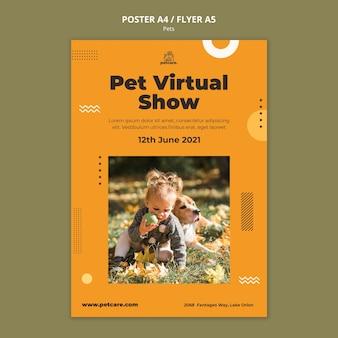 Modèle d'affiche de spectacle virtuel pour animaux de compagnie