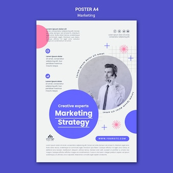 Modèle d'affiche de stratégie marketing