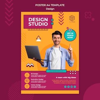 Modèle d'affiche de studio de conception