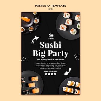 Modèle d'affiche de sushi créatif avec photo