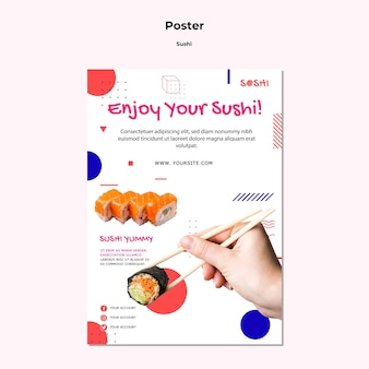 Modèle d'affiche de sushi