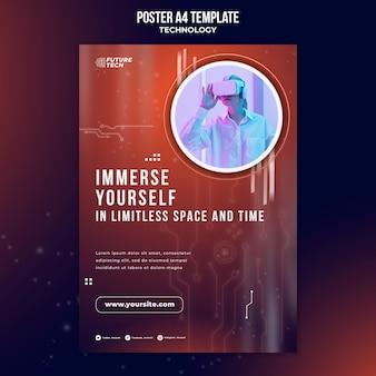 Modèle d'affiche de technologie de lunettes virtuelles