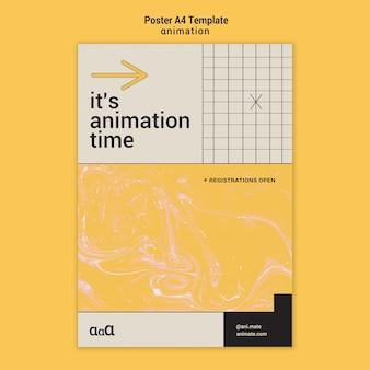 Modèle D'affiche De Temps D'animation Psd gratuit