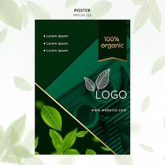 Modèle d'affiche de thé matcha biologique
