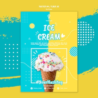 Modèle d'affiche avec le thème de la crème glacée
