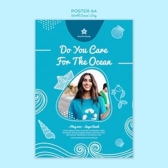 Modèle d'affiche avec le thème de la journée mondiale de l'océan