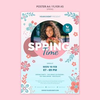 Modèle d'affiche avec thème printemps