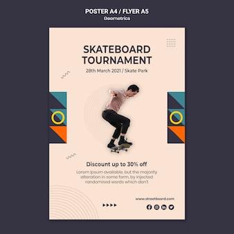 Modèle d'affiche de tournoi de skateboard