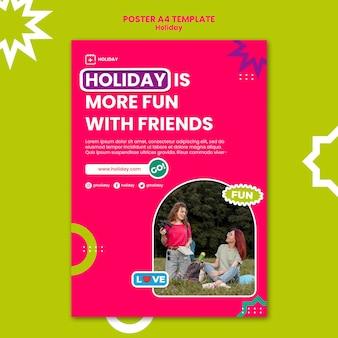 Modèle d'affiche de vacances avec des amis