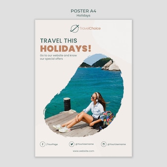 Modèle d'affiche de vacances avec photo