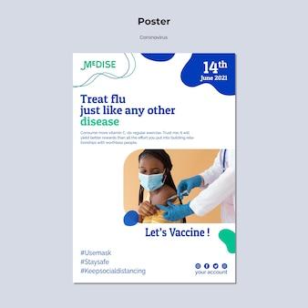 Modèle d'affiche de vaccin contre le coronavirus