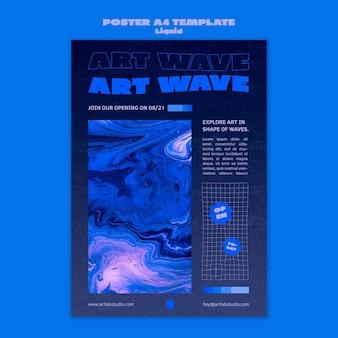 Modèle d'affiche de vague d'art