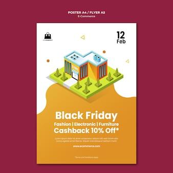 Modèle d'affiche de vendredi noir de commerce électronique