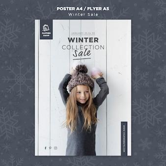 Modèle d'affiche de vente de collection hiver enfant mignon