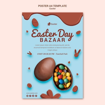Modèle d'affiche de vente de jour de pâques