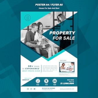 Modèle d'affiche de vente de maison
